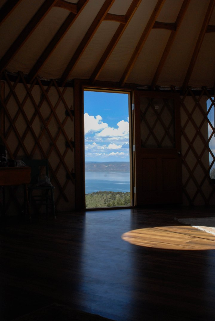 View from the inside of a yurt on Bear Lake, northern Utah.